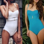 Tulle Metallic Button One Piece Swimsuit