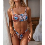 Metal Ring Butterfly Floral Printed Strapless Swimsuit Two Piece Bikini
