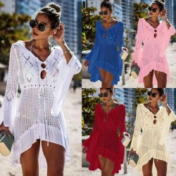Hollow Out Knitted Dress Trumpet Sleeves Beach Wear Sexy Bikini Beach Cover Up Sun Protective Clothing Swimwear