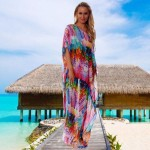 Chiffon Colorful Feather Loose Plus Size Beach One Piece Long Dress Women Swimwear Bikini Beach Cover Up