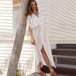 Button Shirt Beach Dress Holiday Long Dress Bikini Beach Cover Up Sun Protective Cardigan