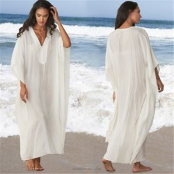 Long Robe Beach Dress Bikini Beach Cover Up Seaside Holiday Long Dress Sun Protective Clothing
