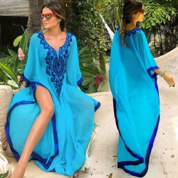 Chiffon Embroidered Loose One Piece Dress Swimwear Beach Cover Up Beach Sun Protective Clothing Women 851