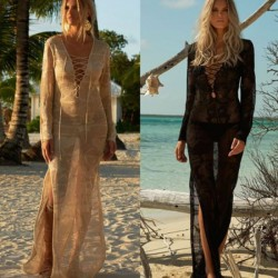 Long Knitted Beach Dress Holiday Beach Cover Up Loose Skinny One Piece Dress Women