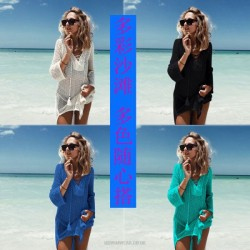 Loose Crochet Hollow Out Bikini Beach Cover Up Beach Wear Holiday Beach Dress Women