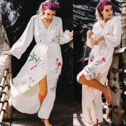 Embroidered Bottons Long Sleeves Sun Protective Beach Cover Up Swimwear Cardigan Women Holiday Long Dress