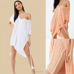 White Hollow Out Knitted Skirt Sun Protective Beach Dress Loose Plus Size Bikini Kaftan Swimwear Beach Cover Up Women