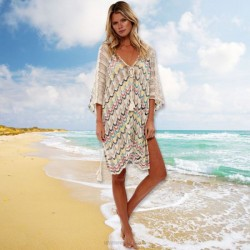 Colorful Hollow Out Knitted Skirt Loose Beach Wear Bikini Beach Cover Up Swimwear Sun Protective