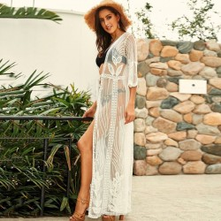 Lace Hollow Out Embroidery Sun Protective Women Swimwear Beach Cover Up Beach Wear Cardigan