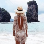 Sexy Hollow Out Blackless Lace Crochet Bikini Sun Protective Clothing Swimwear Beach Cover Up Beach Wear Women