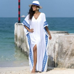 Embroidered Long Robe Holiday One Piece Long Dress Loose Beach Sun Protective Swimwear Beach Cover Up Women