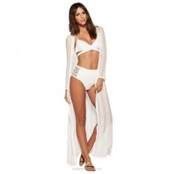 Lace Long Dress Sexy One Piece Dress Holiday Sun Protective Beach Wear Women Hollow Out Beach Cover Up Women
