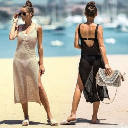 Hollow Out Knitted Vest One Piece Dress Beach Sun Protective Seaside Holiday Bikini Beach Cover Up Swimwear
