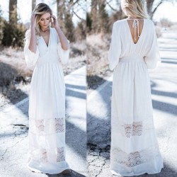 V Neck Loose Plus Size Lace Bikini Beach Cover Up Beach Dress One Piece Dress Sun Protective Long Dress Women