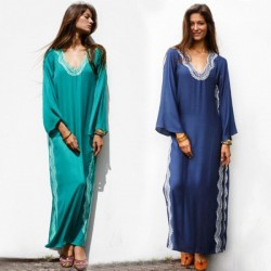 Split Embroidered Long Robe Sun Protective Beach Wear Beach Cover Up Holiday Long Dress One Piece Dress Women