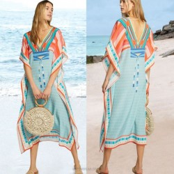 Quick Drying Chiffon V Neck Printing Beach Dress Loose Plus Size Holiday Beach Cover Up Long Robe Women