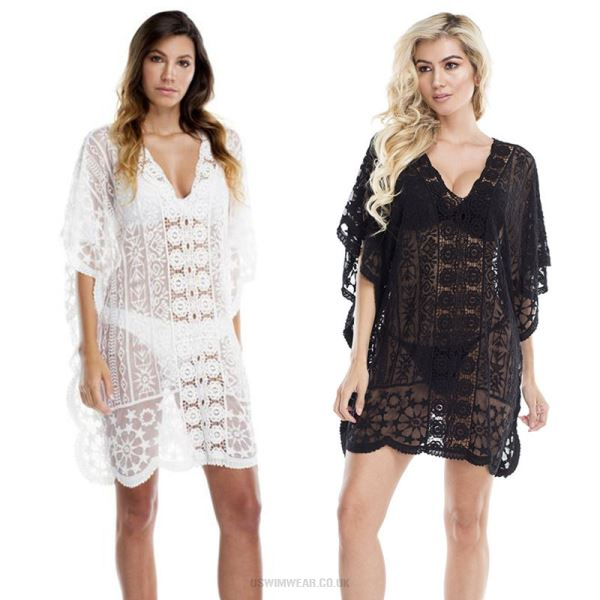 Hollow Out Lace Sexy Loose Sun Protective Beach Cover Up Hot Spring Swimwear Bikini Women