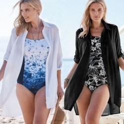 Shirt White Long Sleeves Swimwear Bikini Beach Cover Up Seaside Beach Wear Sun Protective Cardigan