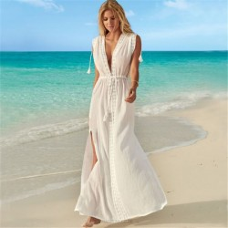 Lacework Beach Dress Sexy V Neck Holiday Long Dress Bikini Beach Cover Up Sun Protective Shirt