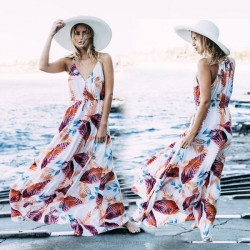 Leaf Printing Halter Beach Wear Holiday Long Dress Seaside Holiday One Piece Dress Beach Cover Up Halter Dress
