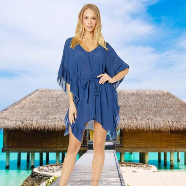 Blue Chiffon Beach Bikini Beach Cover Up Swimwear Beach Sun Protective Clothing Short Skirt Women