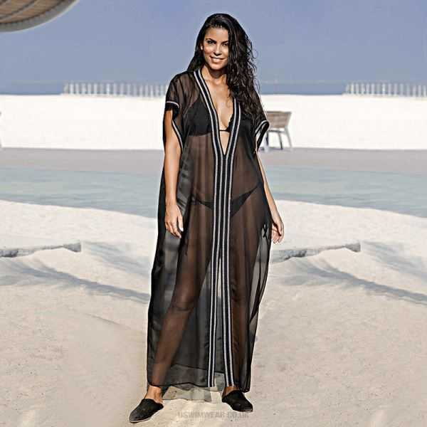 Chiffon Black White Embroidered Loose Beach One Piece Long Dress Holiday Swimwear Long Robe Sun Protective Shirt Beach Cover Up