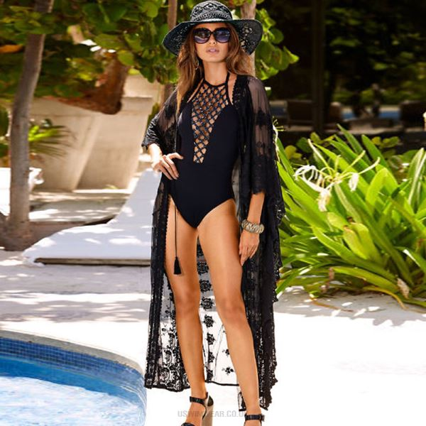 Black Embroidered Cardigan Sexy Lace Sun Protective Loose Holiday Beach Swimwear Bikini Beach Cover Up