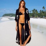Black Embroidered Long Sun Protective Beach Dress Swimwear Beach Cover Up Bikini Cardigan