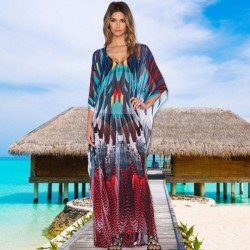 Chiffon Colorful Feather Seaside Holiday Sun Protective Loose Beach Wear Bikini Swimwear Beach Cover Up Long Dress