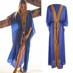 Royal Blue Chiffon Lacework Cardigan Beach Sun Protective Dress Bikini Beach Cover Up Swimwear Women