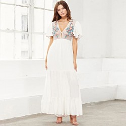 Embroidered Holiday Long Dress Swimwear Beach Cover Up Seaside Beach Sun Protective Clothing One Piece Dress Women