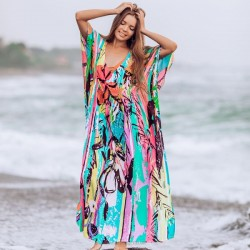 Loose One Piece Dress Long Robe Beach Wear Sun Protective Bikini Beach Cover Up Swimwear