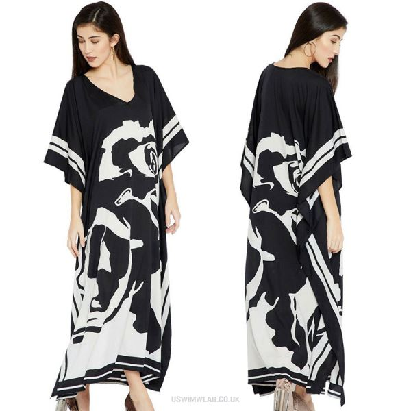 Black White Flower Loose Long Dress Beach Sun Protective Swimwear Beach Cover Up Long Robe Holiday One Piece Dress