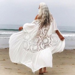 Lace Chiffon Beach Dress Bikini Beach Cover Up Swimwear Cardigan Sun Protective Clothing Holiday Dress Women