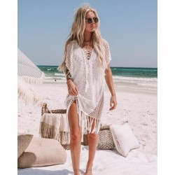 Knitted Tassel Hollow Out Bikini Swimwear Beach Cover Up Holiday Hot Spring Sun Protective Clothing Beach Wear