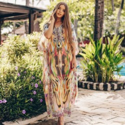 Chiffon Long Robe Yellow Flower Loose Long Beach Bikini Beach Cover Up Sun Protective Clothing Holiday Dress