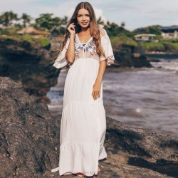 Mesh Embroidered Holiday Long Dress Beach Sun Protective Clothing Swimwear Beach Cover Up Seaside One Piece Dress Women