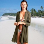 Army Green Shirt Long Sleeves Swimwear Bikini Beach Cover Up Seaside Beach Wear Sun Protective Cardigan Women