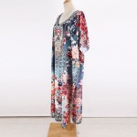 Blue Flower V Neck Long Robe Beach Sun Protective Swimwear Beach Cover Up Seaside Holiday One Piece Dress Women