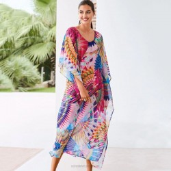 Chiffon Colorful Long Robe Loose One Piece Long Dress Beach Sun Protective Clothing Swimwear Bikini Beach Cover Up