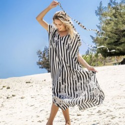 Black White Stripe Flower Beach Dress Holiday Long Robe Bikini Beach Cover Up Sun Protective Shirt Women One Piece Dress