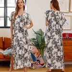 Black White Leaf Printing Long Robe Beach Cover Up Holiday Long Dress Bikini Swimwear Beach Cover Up