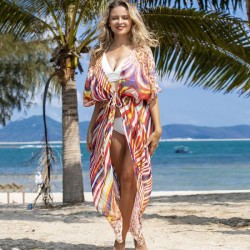 Rainbow Stripe Leopard Print Loose Long Cardigan Beach Sun Protective Dress Bikini Beach Cover Up Swimwear
