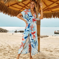 Beach Wear Long Robe Holiday Dress Loose One Piece Long Dress Sun Protective Clothing Swimwear Beach Cover Up Women