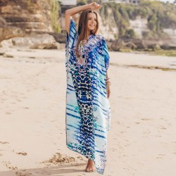Blue Leopard Print Loose Beach Dress Holiday Long Robe Bikini Beach Cover Up Sun Protective Shirt Women One Piece Dress