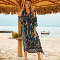 Leaf Long Dress Loose Beach Holiday Sun Protective Long Dress Bikini Beach Cover Up Women Swimwear