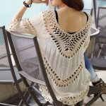 Crochet V Neck Cotton Bikini Beach Cover Up Beach Sun Protective Dress Women