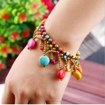 Bohemia Bracelet Natural Colored Stone Handmade Knit Bell Bracelet Women