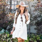White Button Shirt Cardigan Bikini Swimwear Beach Cover Up Beach Sun Protective Robe Holiday