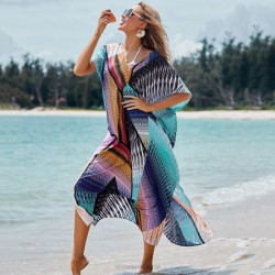Colourful Long Robe Loose Plus Size Long Dress Bikini Beach Cover Up Sun Protective Shirt Beach Holiday Dress